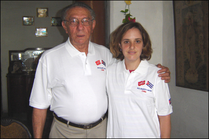 Orlando Borrego with Helen Yaffe in 2008 in Havana.