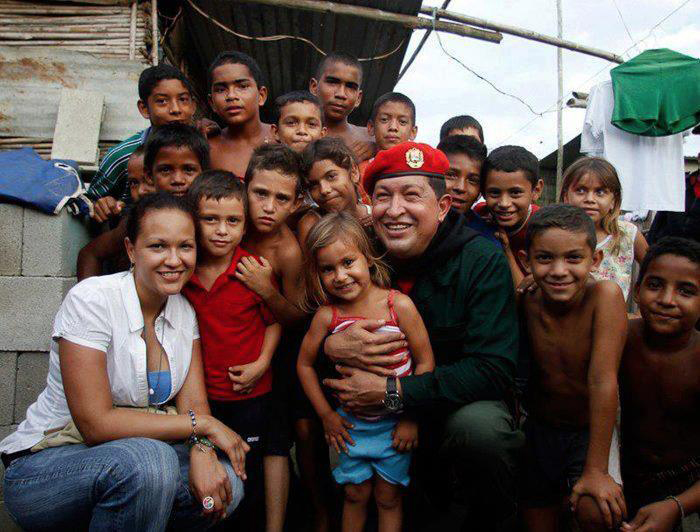 Chavez with kids